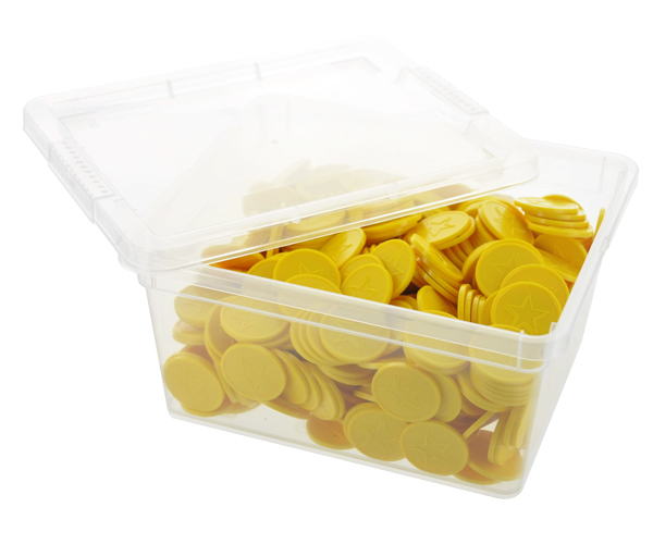 Box of embossed tokens - ø 29mm - Yellow - Star