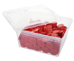 Box of embossed tokens - ø 29mm - Red - Star