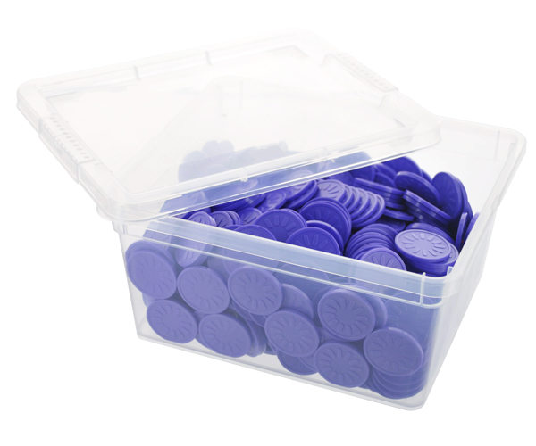 Box of embossed tokens - ø 29mm - Purple - Flower