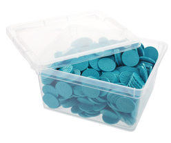 Box of embossed tokens - ø 29mm - Aqua - Flower
