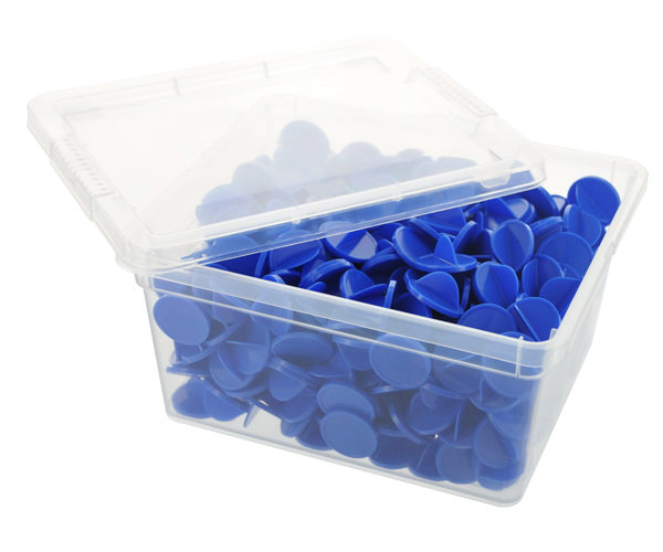 Box of bingo tokens - ø 25mm - Blue