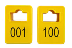 Cloakroom Tokens In Stock - Yellow - Square Opening - 001-100