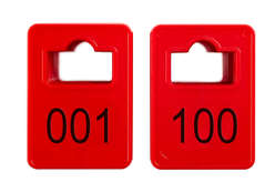 Cloakroom Tokens In Stock - Red - Square Opening - 001-100