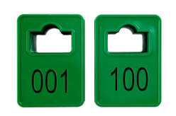 Cloakroom Tokens In Stock - Dark Green - Square Opening - 001-100