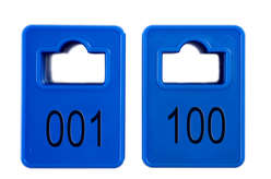 Cloakroom Tokens In Stock - Dark Blue - Square Opening - 001-100