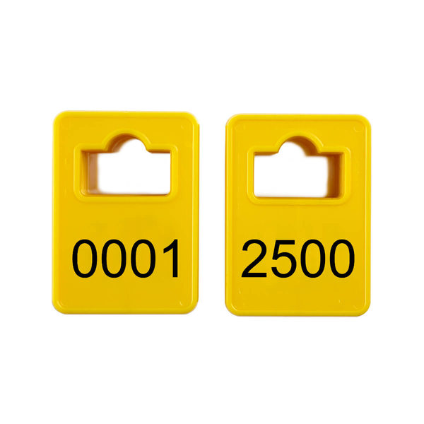 Numbered cloakroom tokens - Model 2 - Yellow - 0001-2500
