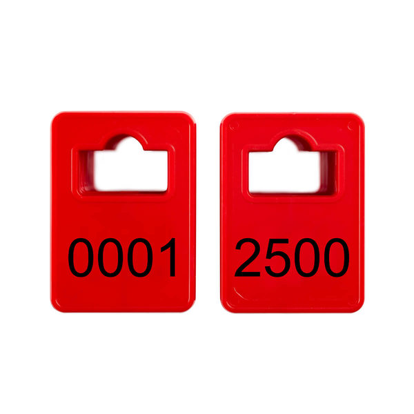 Numbered cloakroom tokens - Model 2 - Red - 0001-2500