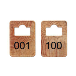 Cloakroom Tokens In Stock - Wood - Square Opening - 001-100